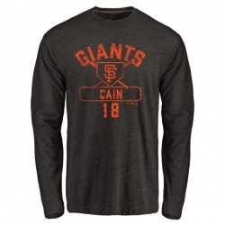 Men's Matt Cain San Francisco Giants Base Runner Tri-Blend Long Sleeve T-Shirt - Black