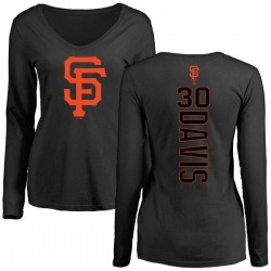 Women's Chili Davis San Francisco Giants Backer Slim Fit Long Sleeve T-Shirt - Black
